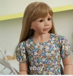120CM Reborn Toddler Dolls Girl Long Hair Standing Reborn Doll Vinyl Full Body