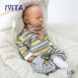 18'' Full Body Silicone Reborn Baby Girl Dolls Eyes Closed Sleeping Baby