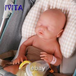 18'' Full Silicone Reborn Dolls Eyes Closed Baby Girl Can Take Pacifier Toy Gift