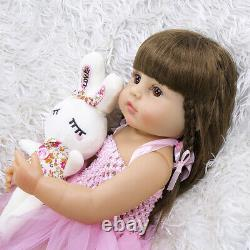 22 Reborn Baby Dolls Silicone Full Body Real Lifelike Girl Doll with Rabbit Toy