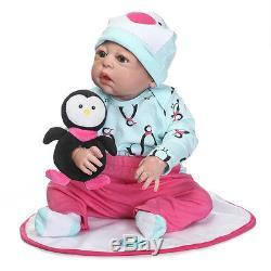 22Full Body Silicone Vinyl Reborn Baby Girl Doll Newborn Lifelike Handmade gift