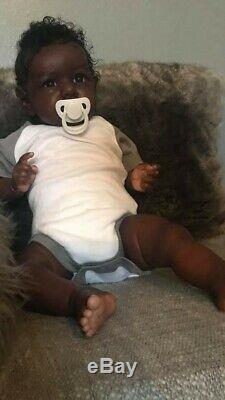 23 Chocolate Saskia Reborn Boy with chocolate doe suede body AA Biracial Ethnic