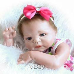 23Reborn Full Body Silicone Girl Baby Doll Newborn Preemie Dolls Babies