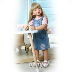 35 Vinyl Full Body Reborn Toddler Doll Girl Realistic Standing Doll Long Blonde