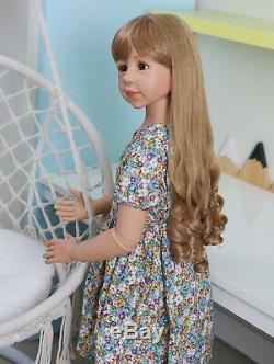 48inch Reborn Toddler Dolls Girl Long Hair Standing Reborn Doll Vinyl Full Body