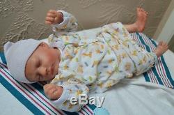 ASHLEY preemie REalBORN realistic newborn baby GIRL blonde mohair reborn doll