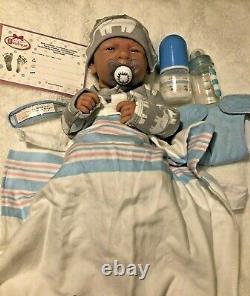 AWW Top BOY! Baby Boy PREEMIE Berenguer Life Like Reborn Pacifier Doll +Extras