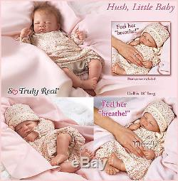 Ashton Drake Hush lifelike Breathing Baby Doll hand applied hair
