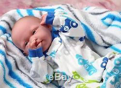 Baby Boy Doll Newborn Reborn 15 inch Real Alive Soft Vinyl Preemie LifeLike