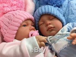 Beautiful Newborn Reborn Baby Boy/girl Twins Bobble Hat A E