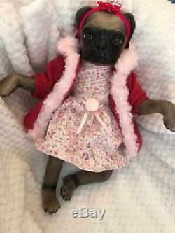 Cherish Dolls Uk Reborn Baby Pug Princess Girl Dog Nappy Lifelike Puppy Animal