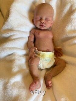 Custom order full body solid silicone preemie baby girl doll Madeline by Carolin
