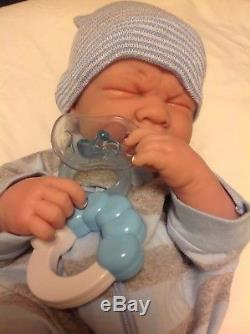 IT'S A BABY BOY! Crying PREEMIE Berenguer Life Like Reborn Pacifier Doll +Extras