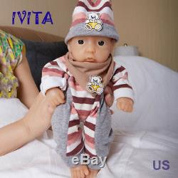 IVITA 11 inch Twins 1.7KG Silicone Reborn Baby Newborn Kid Doll Lovely Baby Toys