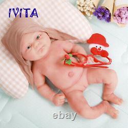 IVITA 14'' Full Body Soft Silicone Reborn Doll Baby Girl Toy Xmas Gift 1800g