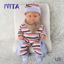 IVITA 14'' Silicone Baby Doll Full Body Silicone Lifelike Baby Boy Infant 1650g