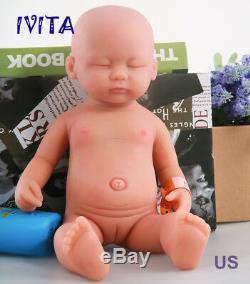IVITA 15'' Eyes Closed Full Silicone Reborn Baby Girl 1.8KG Lifelike Doll