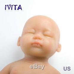 IVITA 15/'/' Eyes Closed Full Silicone Reborn Baby Girl 1.8KG Lifelike Doll