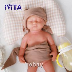 IVITA 15'' Handmade Reborn Silicone Doll Realistic Eyes Closed Baby Girl 1800g