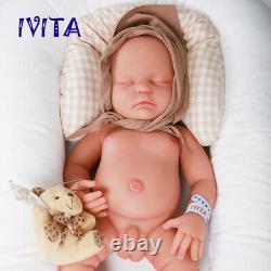 IVITA 18.5'' Full Body Silicone Reborn Doll Eyes Closed Sleeping Baby Boy Xmas