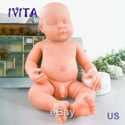 IVITA 18'' Eyes Closed Reborn Baby BOY Full Body Soft Silicone Realistic Doll