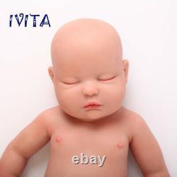 IVITA 18 Full Body Filled Soft Silicone Closed Eyes Doll Newborn Baby Boy Toy