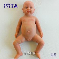 IVITA 18'' Full Body Silicone Reborn Baby Cute GIRL Doll Accompany Birthday Gift