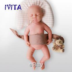 IVITA 18'' Full Body Silicone Reborn Baby Eyes Closed Cute Girl Doll 3200g