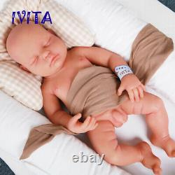 IVITA 18'' Full Body Waterproof Silicone Reborn Doll Eyes Closed Baby Boy 3700g