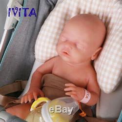 IVITA 18'' Silicone Reborn Doll Sleep Newborn Baby Girl Can Take Pacifier Gift
