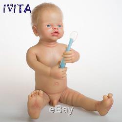 IVITA 22'' 4.7kg Lifelike Full Silicone Reborn Doll Root Hair Baby Has Skeleton