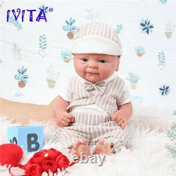 IVITA 36cm Handmade Silicone Reborn Baby Doll Lifelike Smile Boys Xmas Gift