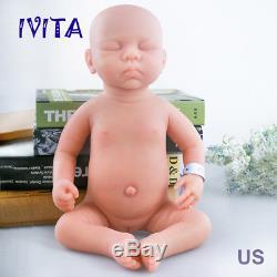 IVITA Lifelike 18'' Eyes Closed Silicone Reborn Baby GIRL Realistic Doll 3.2KG