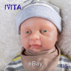 IVITA Reborn Baby Girl Dolls 18'' Realistic Silicone Reborn Baby take a pacifier