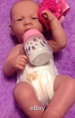 My Precious Baby Girl! Berenguer Preemie Lifelike Reborn Doll W Pacifier, Bottle