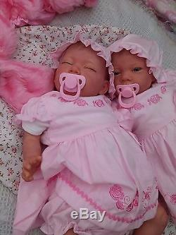 New Sculpt By Artist Sunbeambabies Lifelike Child`s First Reborn Baby Twin Dolls