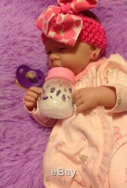 Perfect Cute Baby Girl! Berenguer Lifelike Reborn Preemie 14 Pacifier Bottle ++