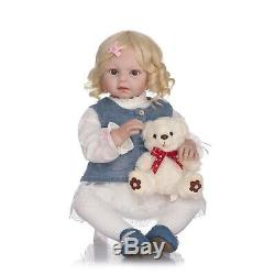 Real Life Toddler Girl 28/70cm Reborn Dolls Curly Hair with Brown Eyes Open