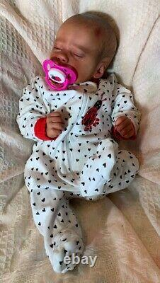 Realborn Ashley Preemie Baby girl Reborn Doll Bi-Racial Ethnic Anatomical Belly