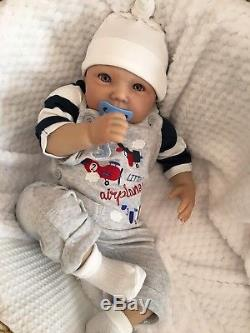 Reborn Baby Boy Doll Wide Awake Jack Fake Realistic Hand Painted 22 Newborn