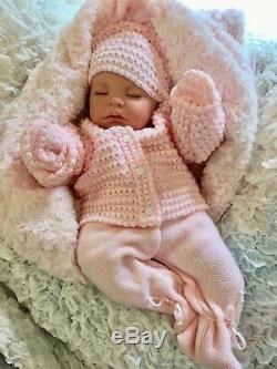 Reborn Baby Girl Doll Pink Spanish Knitted Set & Dummy M