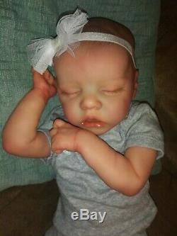 Reborn Baby Girl Twin A 17 Preemie/ Newborn, Open Mouth Custom Order