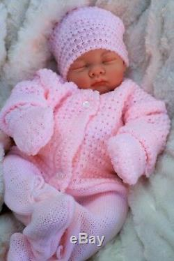 Reborn Doll Heavy Girl Fake Baby Bald Pink Knitted Outfit S 016
