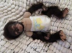 Reborn Monkey Baby Cute Sleeping Rooted 18 Weighted Gift Bag By Sunbeambabies