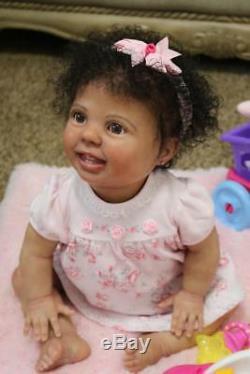 Reborn baby girl with torso, Custom order AA ethnic biracial Crawler position