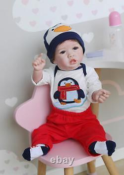 Silicone Full Body Boy Doll Real Size 22 Washable Reborn Baby Dolls Boy Newborn