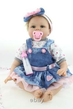 Silicone vinyl reborn baby dolls lifelike baby 22 newborn handmade doll girl