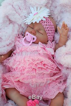 Stunning Reborn Baby Girl Doll Ruffle Romper Sleeping Baby Sofia S145