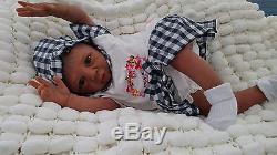 Sunbeambabies Ethnic Kyra Aa Reborn Doll Soft Silicone Vinyl Baby Painted Hair