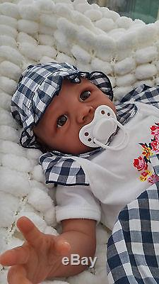 Sunbeambabies Ethnic Kyra Aa Reborn Doll Soft Silicone Vinyl Baby Painted Hair